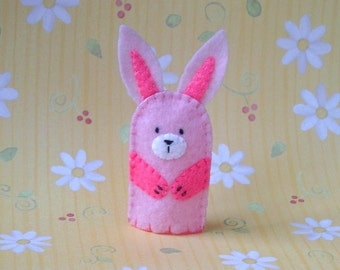 Pale Pink Bunny Finger Puppet - Felt Bunny Rabbit Finger Puppet - Rabbit Puppet - Felt Bunny Puppet - Felt Bunny Toy