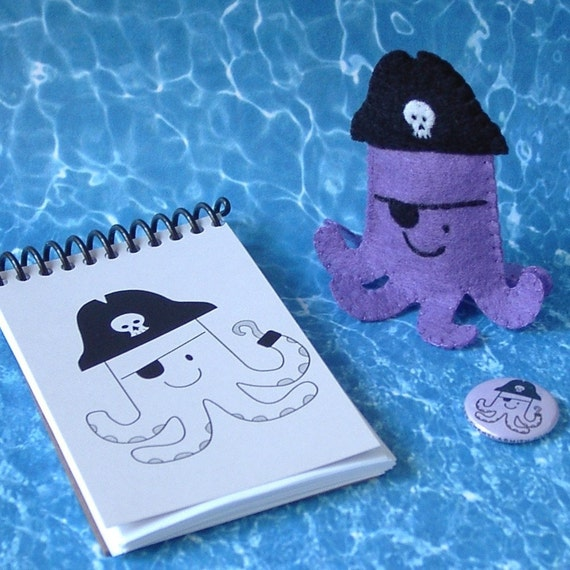 Purple Pirate Octopus Finger Puppet Pinback Button and Notebook Set - Pirate Octopus Gift Set - Pirate Gift Set