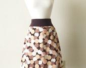 Womens Brown Cotton Skirt geometric print aline Polka Dot circle Print knee length fashion basic yoga waistband Made to Order