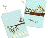 THANK YOU CARDS set, cute thank you bird notecards, thank you notes - ecofriendly recycled note card