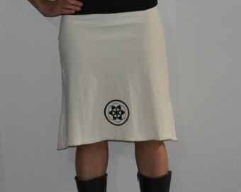 Organic skirt- Organic Cotton and Hemp Skirt with sacred geometry print- Seed of LIfe
