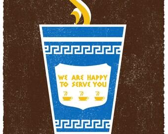 Screenprint Poster Coffee Art Print - Fair Trade Coffee - NYC Coffee Cup Hand Printed Silkscreen Poster