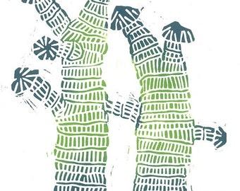 Korean Linocut Print - STRAW WRAPPED TREES - Abstract Tree Print 5x7