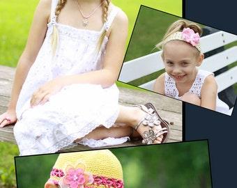 Garden Girls 2: Hair Accessories Crochet Pattern, Sizes Infant through Adult