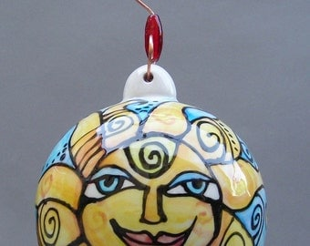 """Large 4"""" Christmas Ornament - Hand Painted Ceramic / Pottery Sun Christmas Tree Decoration - Holiday Home Decor by Cindy Couling"""