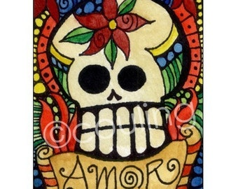 Day of the Dead Art - Sugar Skull Amor / Love - Halloween ATC / ACEO Print by Artist Cindy Couling