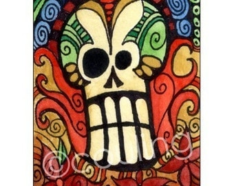 Day of the Dead Art - Sugar Skull for Dia De Los Meurtos / Halloween - ATC / ACEO Print by Artist Cindy Couling