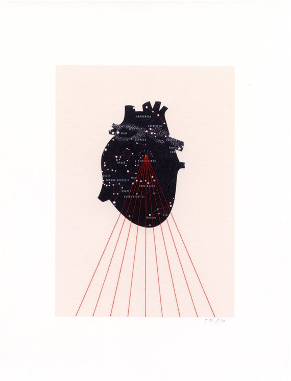 EMBROIDERED PRINT Universe Within / map collage black anatomical star heart red thread