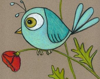 Blue Bird on a Poppy 8 X 10 custom matted print