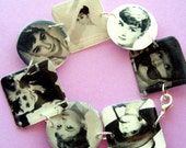 AUDREY HEPBURN lightweight resin circle and square charm bracelet 7.5 inch