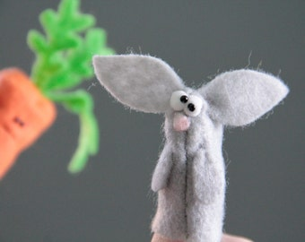 DIY Finger Puppet Kit, Carrot & Bunny, Cream