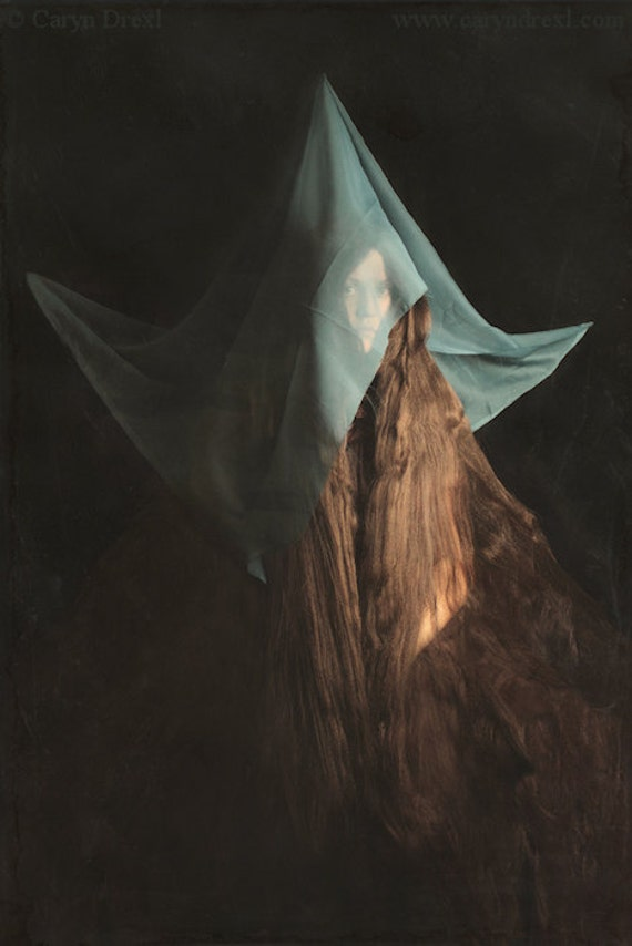 The Great Unveiling - FREE SHIPPING Print Long Hair Mountain Circus Freak Sideshow Creepy Curtain Brown Green Blue Dark Surreal Portrait Art