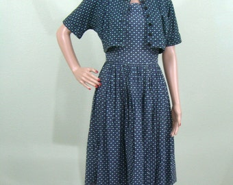 1950s 1960s calico day dress with bolero jacket