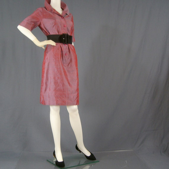 1960s iridescent shantung shift dress