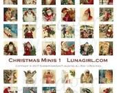 CHRISTMAS INCHIES digital collage sheet DOWNLOAD vintage images, small squares pendants, victorian holidays cards ephemera altered art Santa