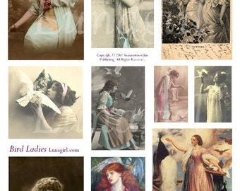 BIRD LADIES collage sheet DOWNLOAD vintage photos images women altered art cards digital ephemera Victorian Edwardian girls postcards gothic