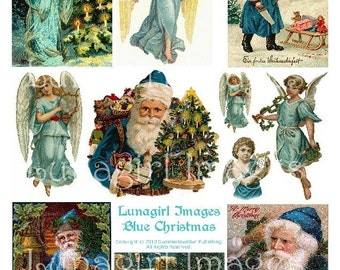BLUE CHRISTMAS digital collage sheet DOWNLOAD vintage images Victorian Santa Claus angels holidays turquoise antique altered art ephemera
