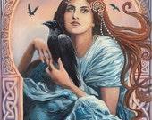 Mórríghan 5x7 Greeting Card  Pagan Mythology Celtic Witch Art Nouveau Psychedelic Bohemian Gypsy Goddess Art
