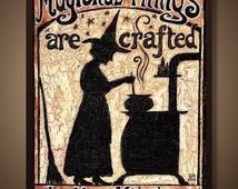 Kitchen Witch Pagan Goddess Art 8x10 Print Magickal Things Are Crafted In This Kitchen