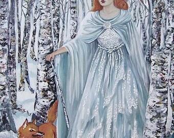 Birch Witch - Pagan Winter Goddess Art 8x10 Print