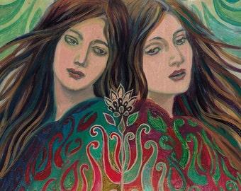 Mystic Sisters - Mythology Goddess Art 5x7 Greeting Card