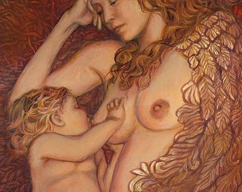 The Nestling 5x7 Card Fine Art Print Mythology Breastfeeding Mother Goddess Art