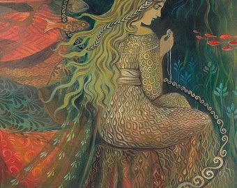 Neptune's Treasure 8x10 Print Mermaid Mythology Art Nouveau Ocean Goddess Art