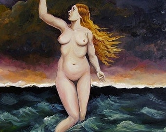 Ocean Goddess 5x7 Blank Greeting Card Pagan Mythology Nude Woman Goddess Art