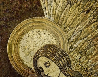 Gold Angel 5x7 Blank Greeting Card Fine Art Print Spiritual Goddess Art