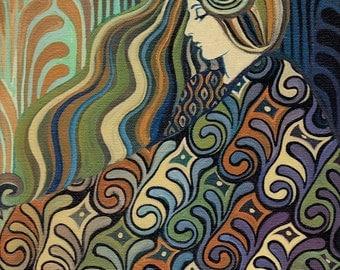 Dalia Goddess of Fate 5x7 Greeting Card Fine Art Print Art Nouveau Boheminan Goddess Art