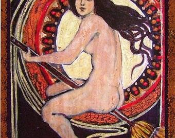 Little Nude Art Nouveau Witch - 5x7 Blank Greeting Card Bohemian Goddess Art