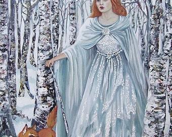 SALE Birch Witch 11x14 Fine Art Print Pagan Mythology Bohemian Winter Goddess Art