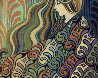 Dalia Goddess of Fate 8x10 Fine Art Print Pagan Lithuanian Mythology Art Nouveau Art Deco Goddess Art