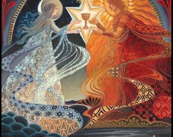 Alchemical Wedding Sacred Marriage Psychedelic Goddess Art 8x10 Print Mythology Bohemian Gypsy Goddess Art