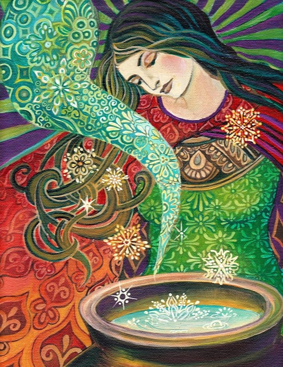 Cerridwens Cauldron 11x14 Fine Art Print Pagan Mythology Art Nouveau Gypsy Witch Psychedelic Goddess Art