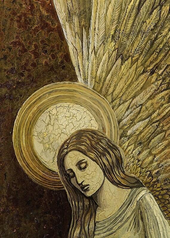 Gold Angel 5x7 Blank Greeting Card Fine Art Print Spiritual Goddess Art