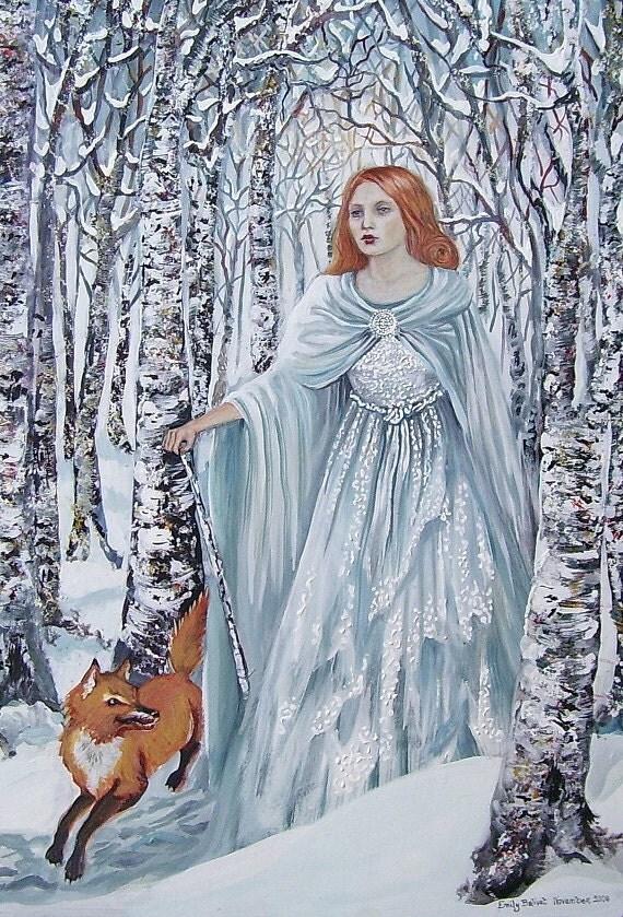 Birch Witch - Pagan Winter Goddess Art Print