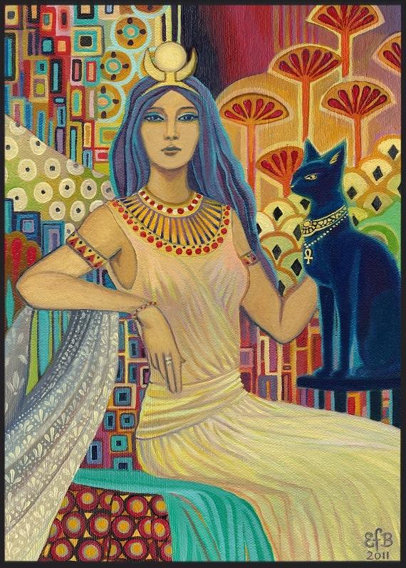 Bast Egyptian Cat Goddess Art 5x7 Blank Greeting Card