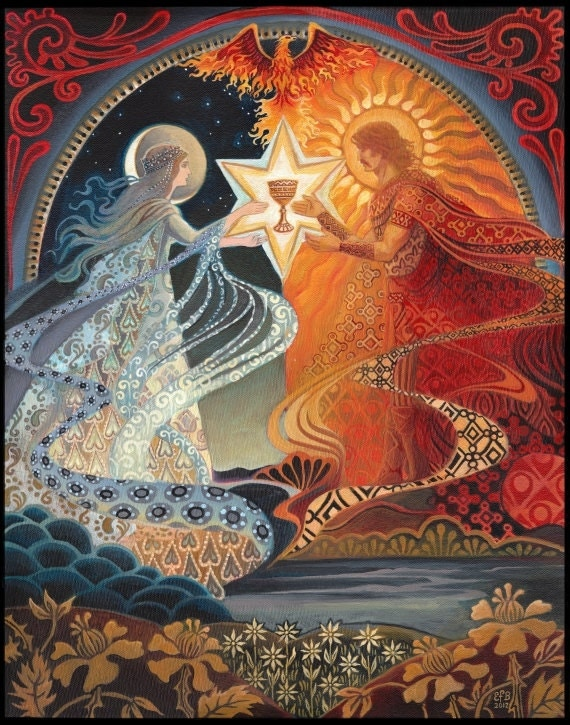 Alchemical Wedding Sacred Marriage Psychedelic Goddess Art 8x10 Print