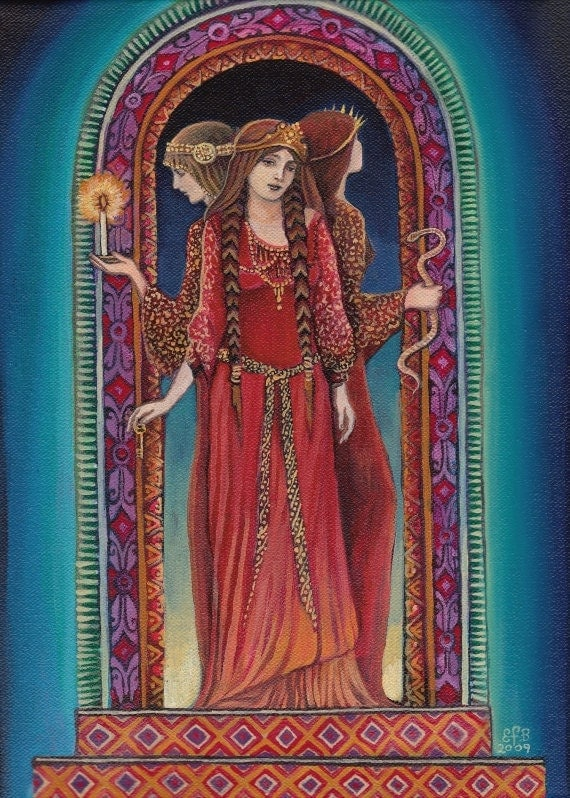Hecate Goddess of the Crossroads ACEO Miniature Altar Art Pagan Mythology Psychedelic Bohemian Gypsy Witch Goddess Art