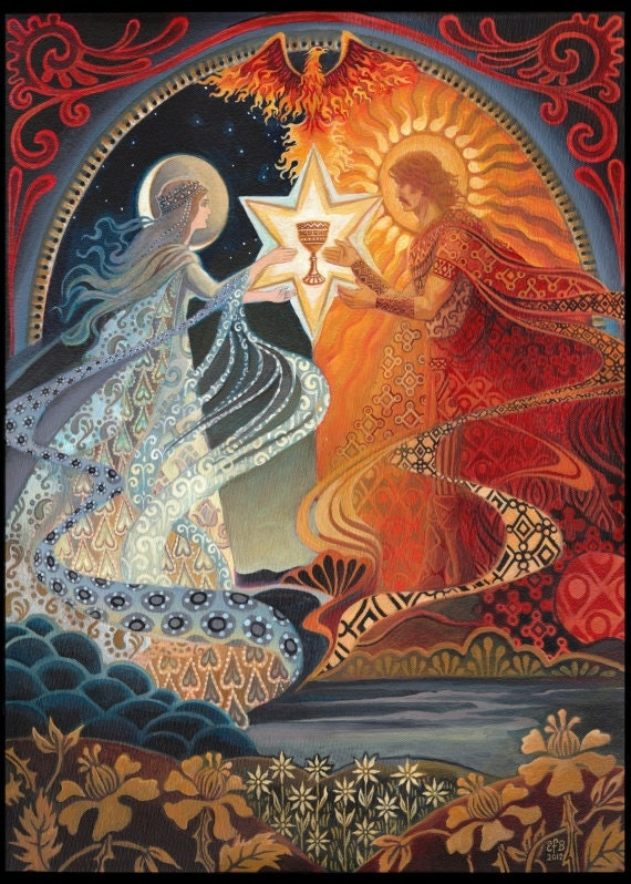 Alchemical Wedding Sacred Marriage ACEO Mini Print Altar Art Goddess Art