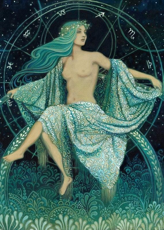 Asteria Greek Goddess of the Stars ACEO ATC Altar Art