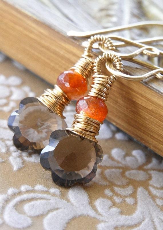 Earrings - goldfill, smoky quartz, sunstone, wire wrapped - Clivia