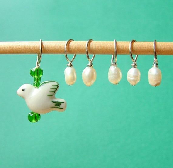 Mama Bird and Egg Stitch Markers--Set of Six
