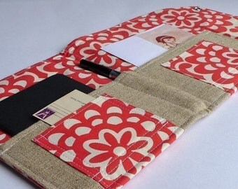 Moleskine Holder, Stationery and Letter Organizer-  Etsy Find - In Touch Clutch (tm) in Amy Butler Wallflower Red