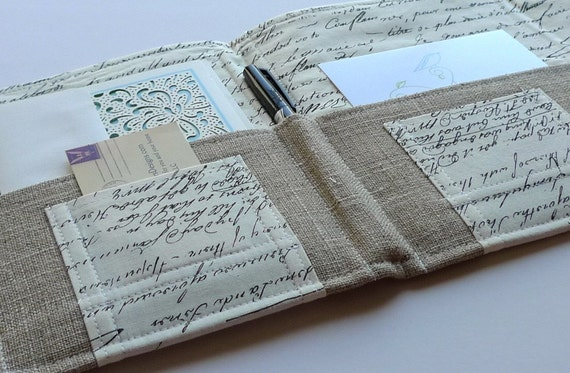 RESOLUTION: WRITE LETTERS New Year Resolution - Organizer for Coupons, Stationery, Passports In Touch Clutch- Vintage Script Letters