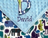 Zoo Animals Baby Boy Security Blanket ,  Minky Blanket - 2D Zoo with Applique Initial and Name - LIMITED but still available