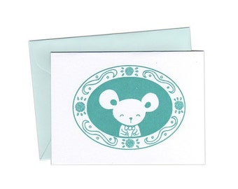 Mr. Mouse Notecards Set of Three Gocco Printed Cards