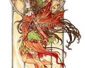 Autumn Fairy print, Art Nouveau, Gothic window, limited edition - four seasons set -