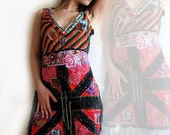 Lucky London Dress, English Rose, Bohemian Dress, Red, Green, Reggae, Union Jack, Eclectic Clothing, Punk Rock, Boho